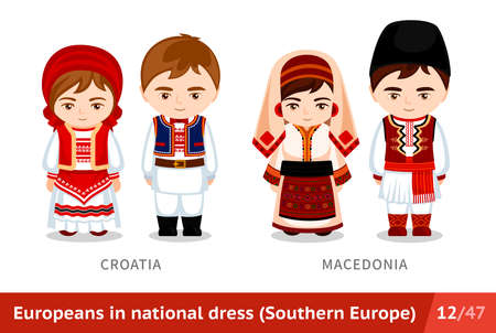 Croatia, Macedonia. Men and women in national dress. Set of european people wearing ethnic clothing. Cartoon characters in traditional costume. Southern Europe.