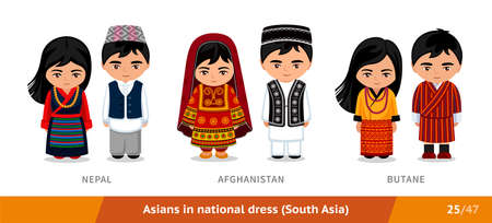 Nepal, Afghanistan, Butane. Men and women in national dress. Set of asian people wearing ethnic clothing. Cartoon characters in traditional costume. South Asia.