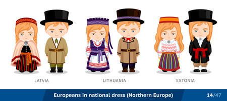 Latvia, Lithuania, Estonia. Men and women in national dress. Set of european people wearing ethnic clothing. Cartoon characters in traditional costume. Northern Europe. Vector flat illustration.