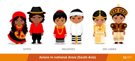Gypsy, Maldives, Sri Lanka. Men and women in national dress. Set of asian people wearing ethnic clothing. Cartoon characters in traditional costume. South Asia. Vectores