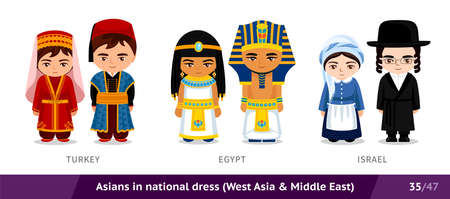Turkey, Egypt, Israel. Men and women in national dress. Set of asian people wearing ethnic traditional costume. Isolated cartoon characters. Southeast Asia.