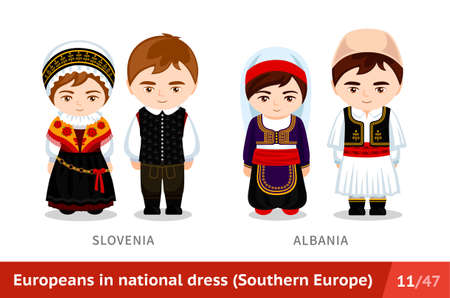 Slovenia, Albania. Men and women in national dress. Set of european people wearing ethnic clothing. Cartoon characters in traditional costume. Southern Europe.