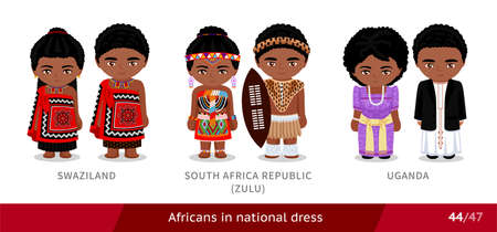 Swaziland, South Africa Republic, zulu tribe, Uganda. Men and women in national dress. Set of african people wearing ethnic traditional costume. Isolated cartoon characters.
