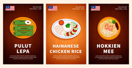 Malaysian cuisine, traditional food, national dishes on a wooden table. Pulut Lepa, Hainanese chicken rice, Hokkien Mee. Top view. Template for vertical web banner, menu. Flat vector illustration.