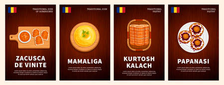 Romanian dishes and pastries, national cuisine, traditional food on a wooden table. Kurtosh Kalach, Papanasi, Mamaliga, Zacusca de Vinite. Top view. Flat vector illustration. Vectores