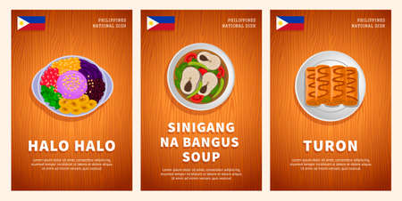 Philippine cuisine, traditional food, national dishes on a wooden table. Halo Halo, Sinigang na Bangus Soup, Turon. Top view. Template for vertical web banner, menu. Flat vector illustration.