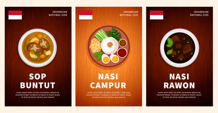Indonesian cuisine, traditional food, national dishes on a wooden table. Sop Buntut, Nasi Campur, Nasi Rawon. Top view. Template for vertical web banner, menu. Flat vector illustration.