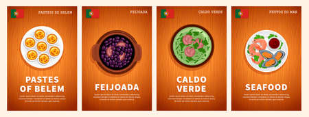 Portuguese cuisine, traditional food, national dishes on a wooden table. Seafood, Feijoada, Caldo Verde, Pastes of Belem. Template for vertical web banner, menu. Top view. Flat vector illustration.