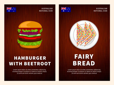 Australian cuisine, traditional food, national dishes on a wooden table. Hamburger with beetroot, Fairy bread. Top view. Template for vertical web banner, menu. Flat vector illustration.
