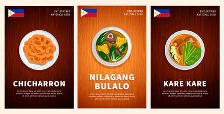 Philippine cuisine, traditional food, national dishes on a wooden table. Chicharron, Nilagang Bulalo, Kare Kare. Top view. Template for vertical web banner, menu. Flat vector illustration.