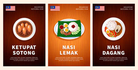 Malaysian cuisine, traditional food, national dishes on a wooden table. Ketupat Sotong, Nasi Lemak, Nasi Dagang. Top view. Template for vertical web banner, menu. Flat vector illustration. Vectores