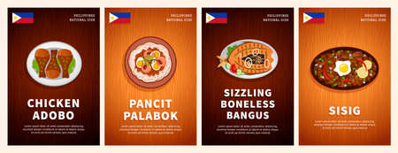 Philippine cuisine, traditional food, national dishes on a wooden table. Chicken Adobo, Pancit Palabok, Sizzling Boneless Bangus, Sisig. Top view. Template for menu. Flat vector illustration.