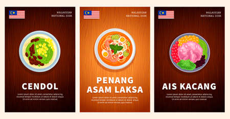 Malaysian cuisine, traditional food, national dishes on a wooden table. Cendol, Ais Kacang, Penang Asam Laksa. Template for vertical web banner, menu. Top view. Flat vector illustration.