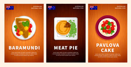 Australian cuisine, traditional food, national dishes on a wooden table. Baramundi fish, Meat Pie, Pavlova Cake. Top view. Template for vertical web banner, menu. Flat vector illustration.