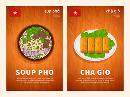 Vietnamese cuisine, traditional asian food, national dishes of Vietnam on a wooden table. Soup Pho, Cha Gio rolls. Template for vertical web banner, menu. Top view. Flat vector illustration.