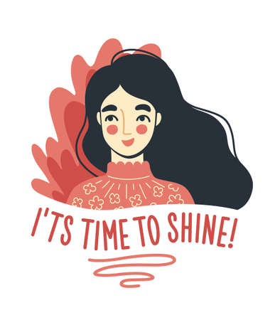 Portrait of charming joyful woman. It is time to shine quote. Happy young cute girl. Hand-drawn character, face, head, avatar. Vector isolated illustration. Vectores
