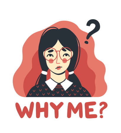 Portrait of puzzled displeased woman. Sad upset girl. Why me concept. Hand-drawn character. Vector illustration.