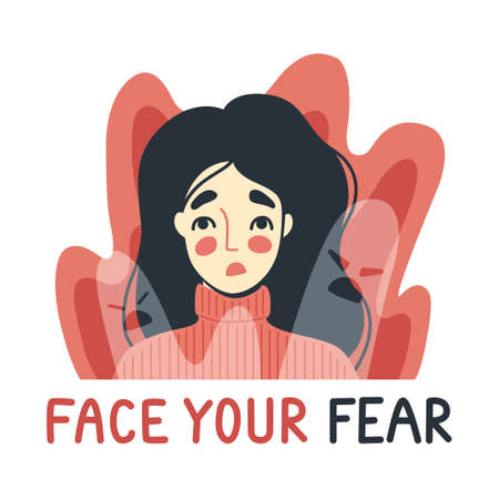 Face your fear, phobia, insomnia concept. Frightened, scared young woman surrounded by imaginary ghosts flying around her. Panic attack, fears, paranoia and sleeping disorder. Vector illustration. Imagens - 152440697