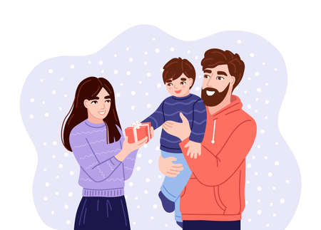 Young parents presenting christmas gift to little son. Happy father holding son in his arms. Family members wish each other merry christmas. Flat hand-drawn characters. Vector illustration.