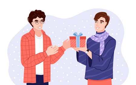Young men exchanging gifts. Friends presenting gifts and wish each other merry christmas. Flat hand-drawn characters. Vector illustration. Çizim