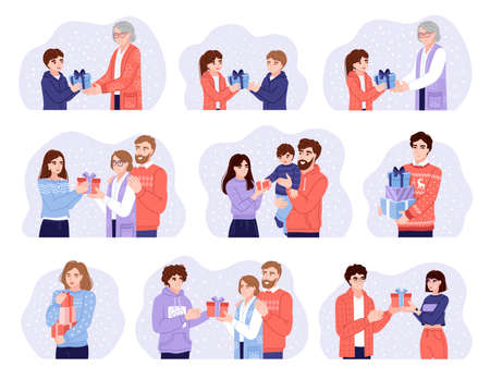 Big bundle of scenes with people presenting and exchanging christmas gifts. Christmas holiday present surprise. Set of hand-drawn characters. Vector illustrations.