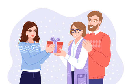 Doughter and parents exchanging gifts. Family members presenting gifts and wish each other merry christmas. Flat hand-drawn characters. Vector illustration. Çizim