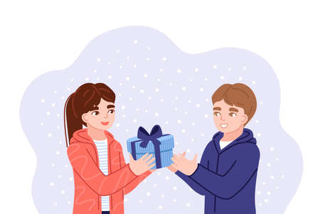 Girl and boy exchanging christmas gifts. Kids presenting gifts and wish each other merry christmas. Flat hand-drawn characters. Vector illustration. Banque d'images - 158085010
