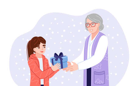 Granddaughter and grandmother exchanging christmas gifts. Family members presenting gifts and wish each other merry christmas. Flat hand-drawn characters. Vector illustration.