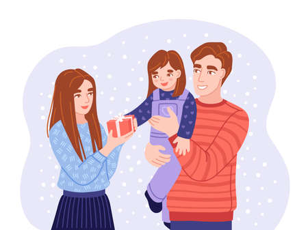 Young parents give their little doughter christmas gift. Happy father holding doughter in his arms. Family members wish each other merry christmas. Flat hand-drawn characters. Vector illustration.