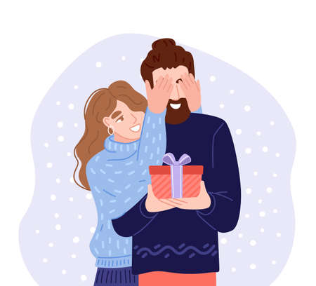 Young woman covering his boyfriend eyes to give a surprise gift. Happy couple celebrating christmas. Flat hand-drawn characters. Vector illustration. Çizim