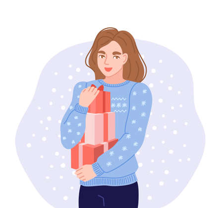 Happy young woman carrying stack of boxes with christmas presents. Hand-drawn character in blue knitted christmas sweater. Flat vector illustration.