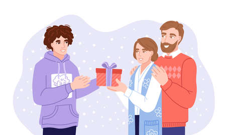 Son and parents exchanging gifts. Family members presenting gifts and wish each other merry christmas. Flat hand-drawn characters.