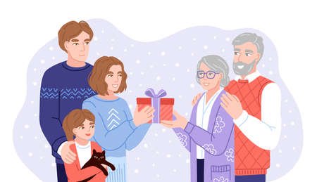 Young family presenting christmas gifts to parents, grandparents. Family members exchanging gifts and wish each other merry christmas. Flat hand-drawn characters. Vector illustration. Imagens - 158085081