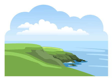Green irish cliffed coast. Colorful panoramic landscape. Ocean scenic view. Flat vector illustration. Çizim