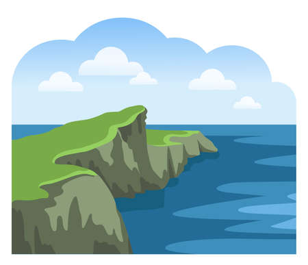 Coastal cliffs. Ocean scenic view. Irish landscape. Colorful panoramic scenery. Flat vector illustration.