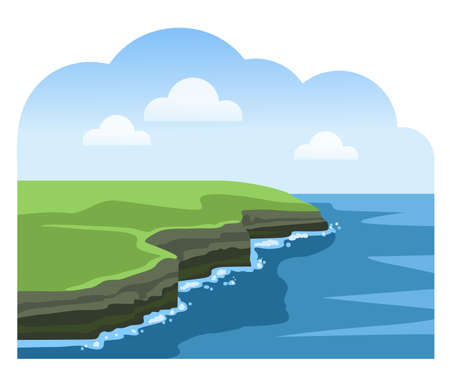 Cliffs of Moher. Irish attraction. Travel to Ireland. Sea scenic view. Colorful vector illustration.