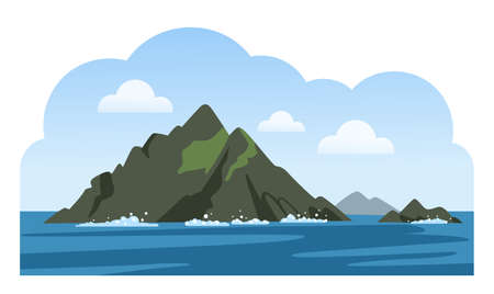 Skellig Michael. Great Skellig. Twin-pinnacled irish crag. Travel to Ireland. Sea scenic view. Colorful vector illustration.