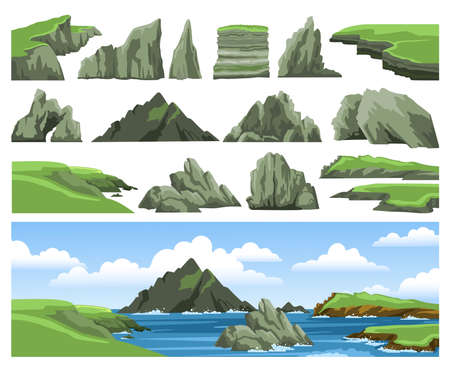 Set of sea landscape elements. Mountains, rocks, cliffs, stones and blue sky with clouds. Colorful panoramic scenery. Ocean scenic view. Flat vector illustration.