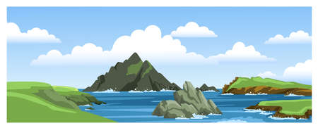 Sea landscape with mountains, rocks, cliffs, stones and blue sky with clouds. Colorful panoramic scenery. Ocean scenic view. Flat vector illustration.