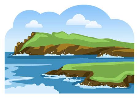 Rocky coastline with sea foam. Sea landscape. Sea scenic view. Colorful vector illustration.