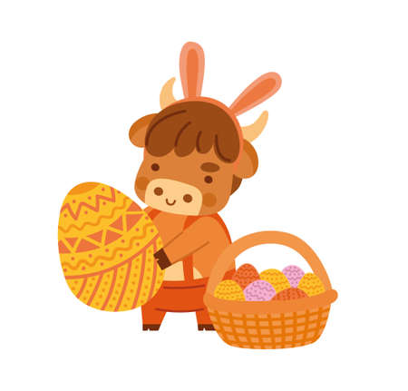 Cute ox holding a large easter egg. Little cow with bunny ears. Kawaii bull and basket of eggs. 2021 zodiac sign. Vector illustration. Cartoon character. Illustration