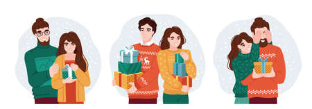 Young couple celebrating christmas and exchanging surprise gifts. Set of Happy New Year and Christmas celebration vector illustration. Hand drawn characters. Çizim