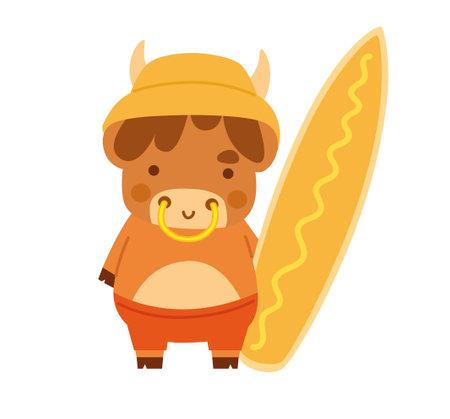 Cute ox in panama holding a surfboard. Little cow. Kawaii bull. 2021 zodiac sign. Vector illustration. Cartoon character. 向量圖像