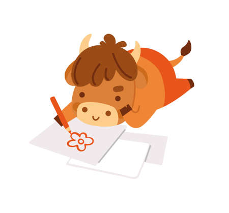Cute ox drawing a picture, lying on its stomach. Little cow. Kawaii bull. 2021 zodiac sign. Vector illustration. Cartoon character. Illustration