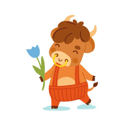 Cute ox with flower. Little cow. Kawaii bull. 2021 zodiac sign. Vector illustration. Cartoon character. Banque d'images - 160580202