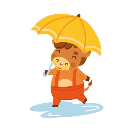 Cute ox holding umbrella. Little cow. Kawaii bull. 2021 zodiac sign. Vector illustration. Cartoon character.