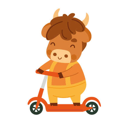 Ox cartoon character. Cute little cow. Kawaii bull riding a scooter. 2021 zodiac sign. New year animal. Vector illustration. Çizim