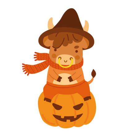 Cute little ox sitting on a halloween pumpkin. Cow cartoon character. Kawaii bull. 2021 zodiac sign. New year animal. Vector illustration. Illustration