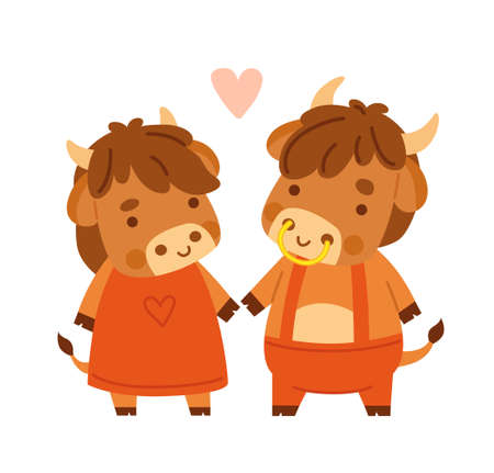 Cute cow and bull. Kawaii little bull. 2021 zodiac sign. Vector illustration. Cartoon character. Banque d'images - 160580471