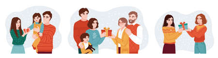 People presenting and exchanging christmas gifts. Family members and friends wishing each other merry christmas. Set of hand-drawn characters. Vector illustrations. Çizim